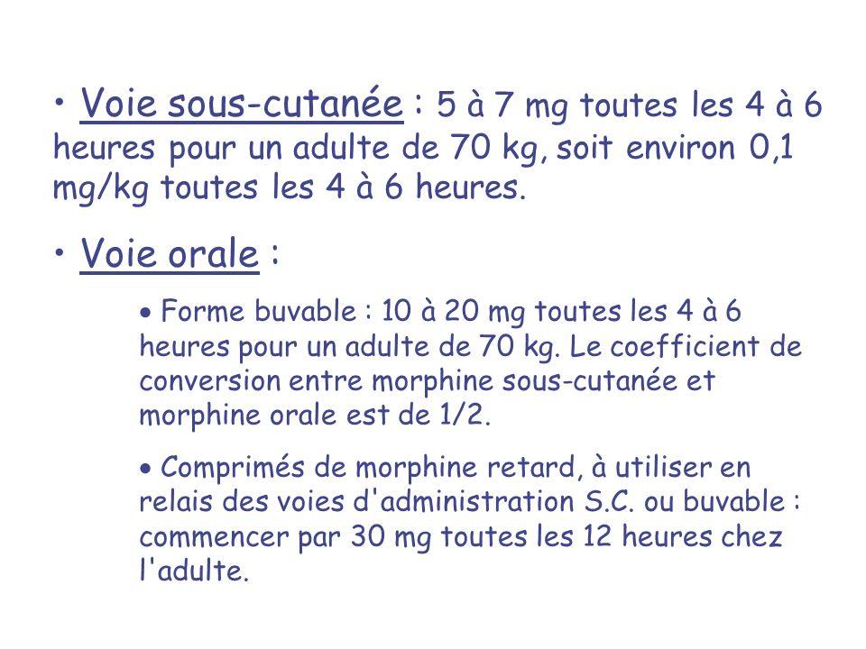 Voie sous-cutanée : 5 à 7 mg toutes les 4 à 6 heures pour un adulte de 70 kg, soit environ 0,1 mg/kg toutes les 4 à 6 heures.