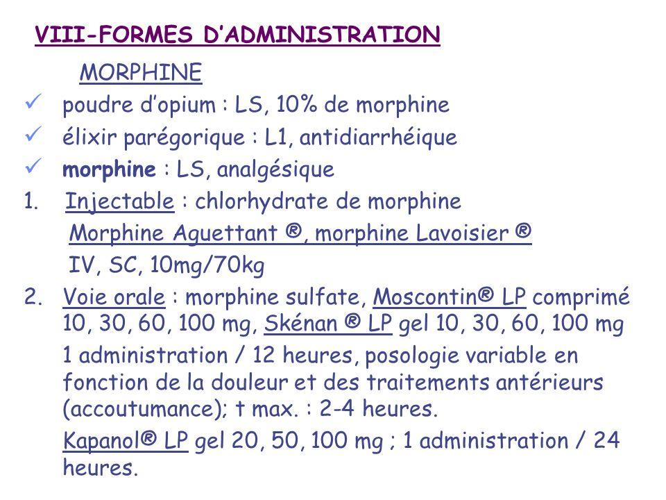 VIII-FORMES D'ADMINISTRATION