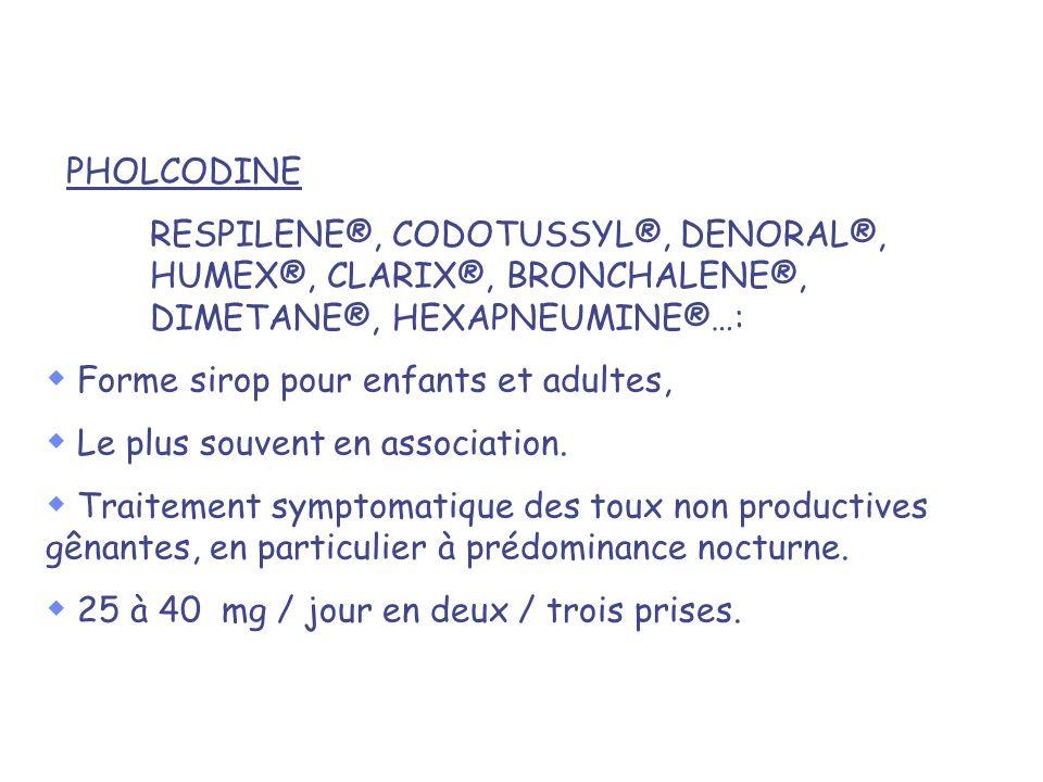 PHOLCODINE RESPILENE®, CODOTUSSYL®, DENORAL®, HUMEX®, CLARIX®, BRONCHALENE®, DIMETANE®, HEXAPNEUMINE®…: