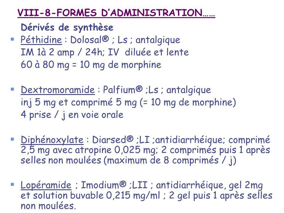VIII-8-FORMES D'ADMINISTRATION……