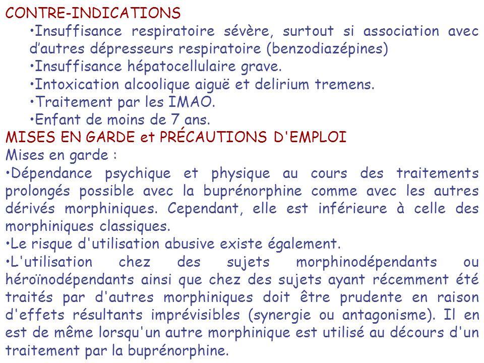 CONTRE-INDICATIONS Insuffisance respiratoire sévère, surtout si association avec d'autres dépresseurs respiratoire (benzodiazépines)