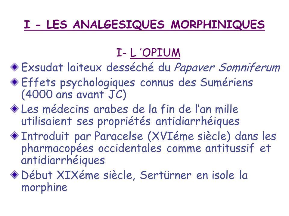 I - LES ANALGESIQUES MORPHINIQUES
