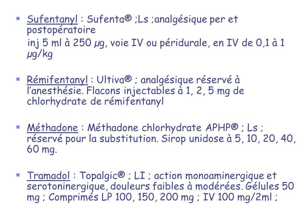 Sufentanyl : Sufenta® ;Ls ;analgésique per et postopératoire