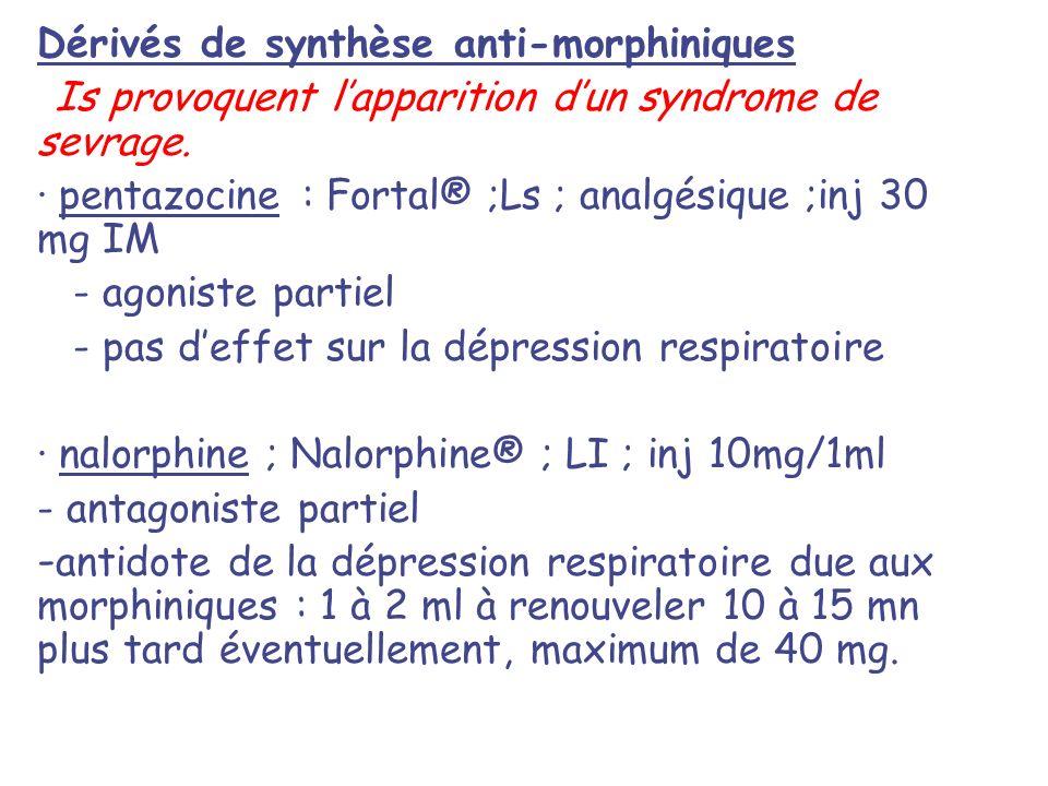 Dérivés de synthèse anti-morphiniques