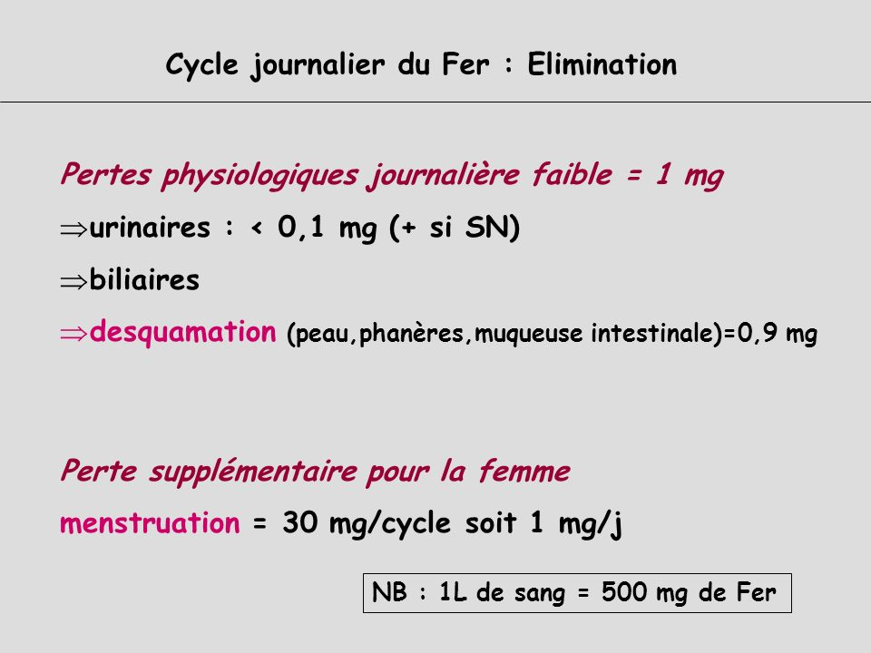 Cycle journalier du Fer : Elimination