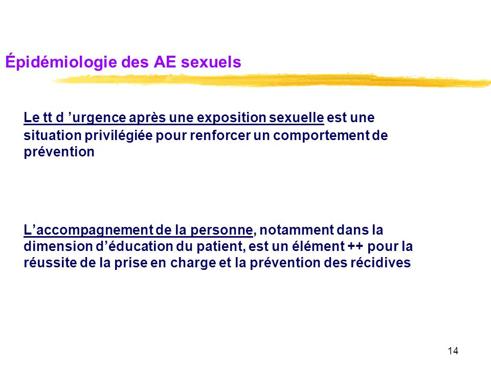 Épidémiologie des AE sexuels