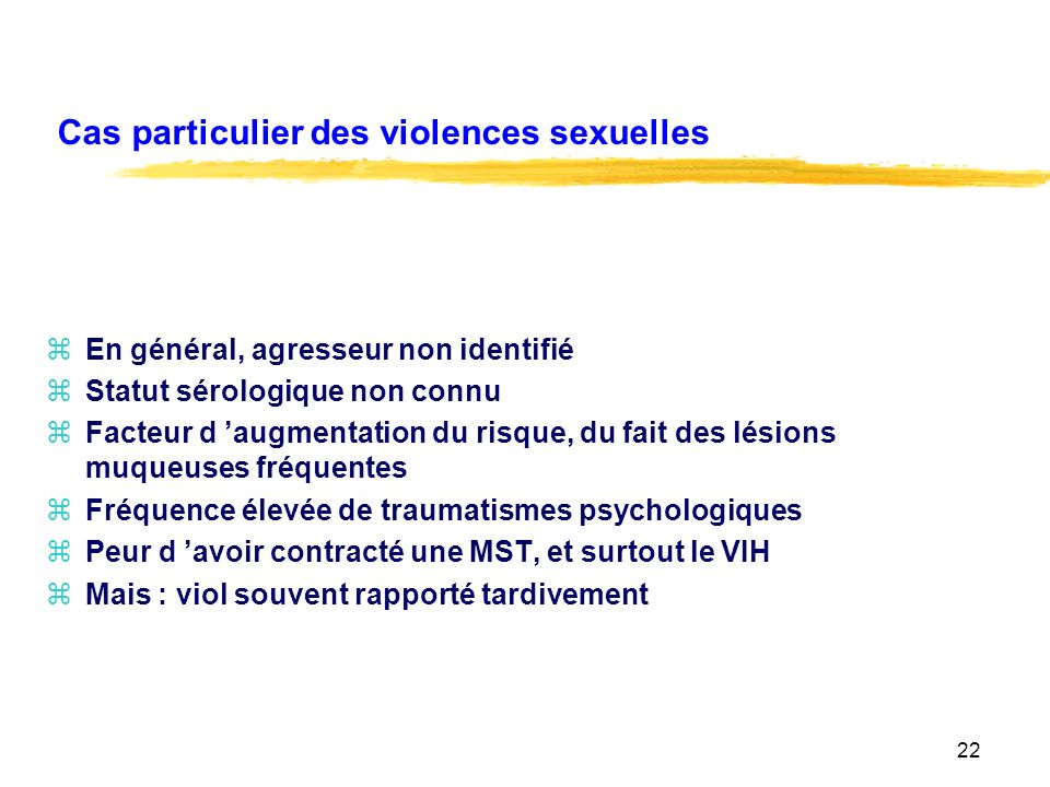 Cas particulier des violences sexuelles