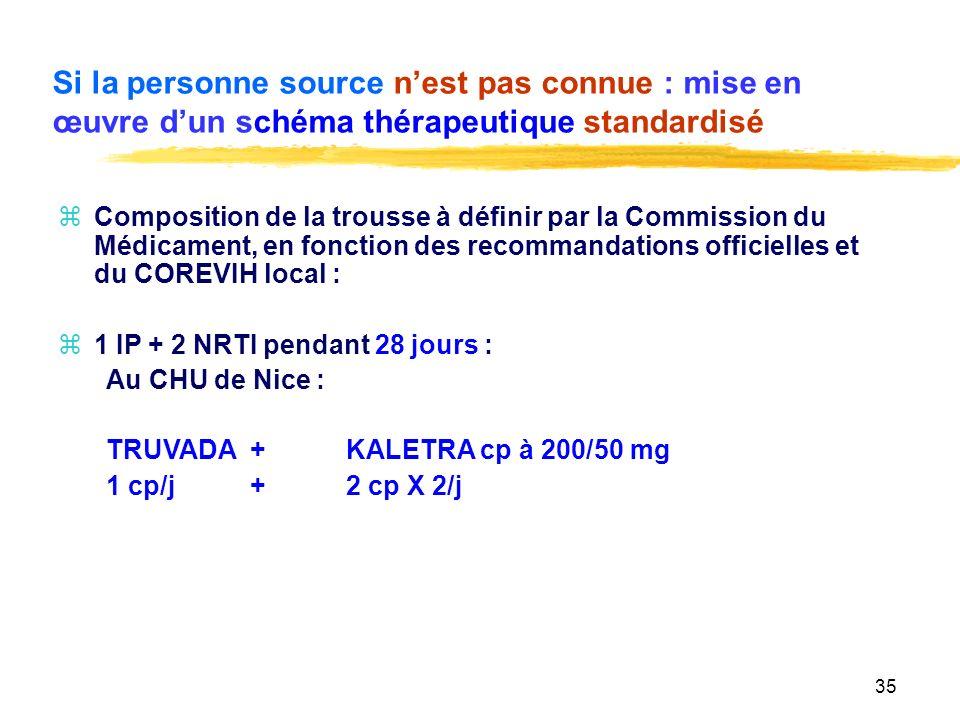 Si la personne source n'est pas connue : mise en œuvre d'un schéma thérapeutique standardisé