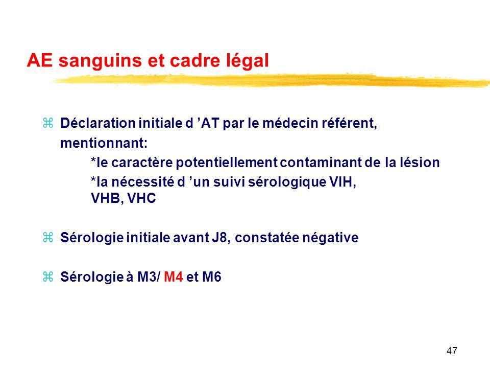 AE sanguins et cadre légal