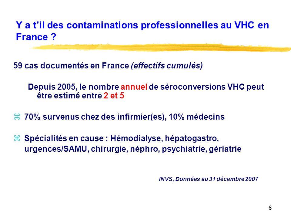 Y a t'il des contaminations professionnelles au VHC en France