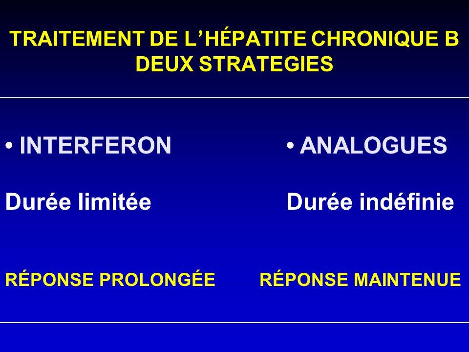 TRAITEMENT DE L'HÉPATITE CHRONIQUE B DEUX STRATEGIES