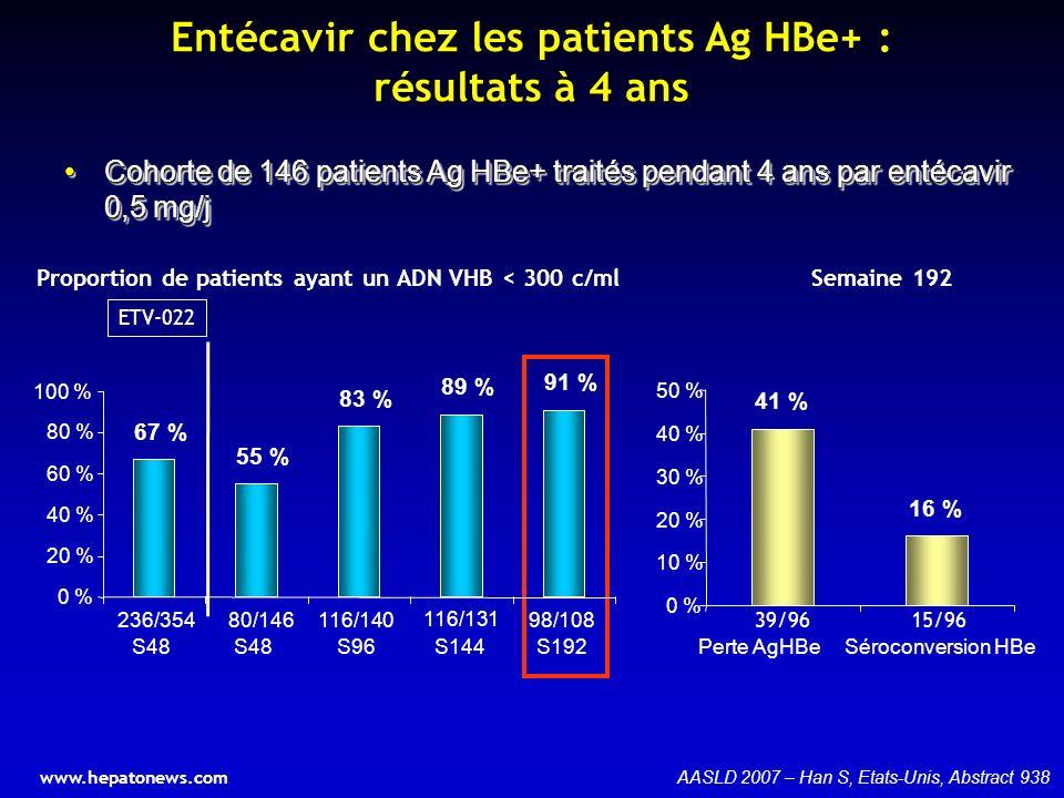 Entécavir chez les patients Ag HBe+ : résultats à 4 ans