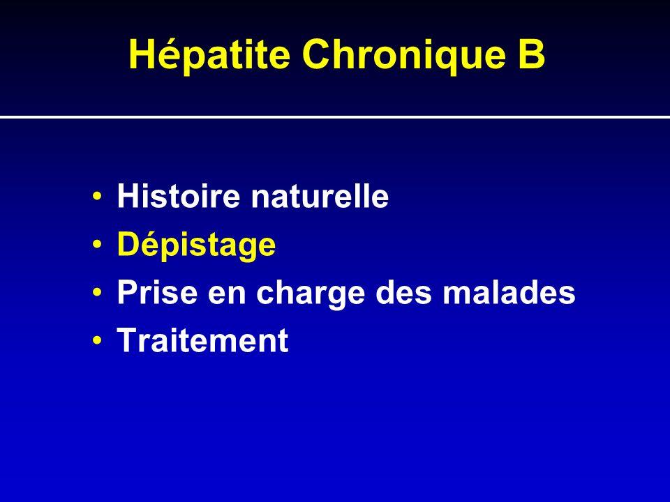 Hépatite Chronique B Histoire naturelle Dépistage