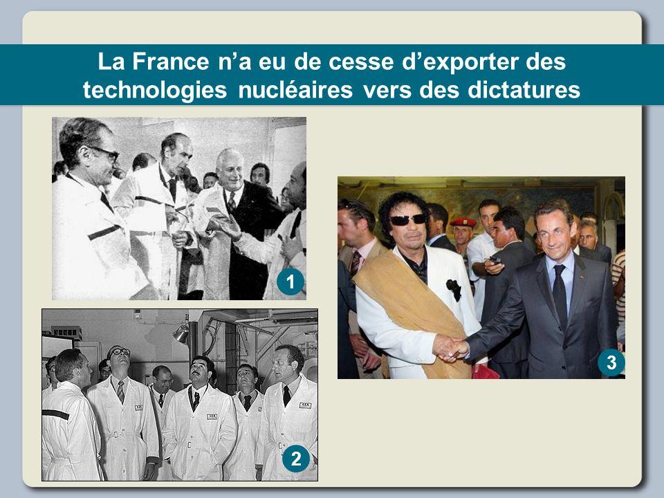 La France n'a eu de cesse d'exporter des technologies nucléaires vers des dictatures