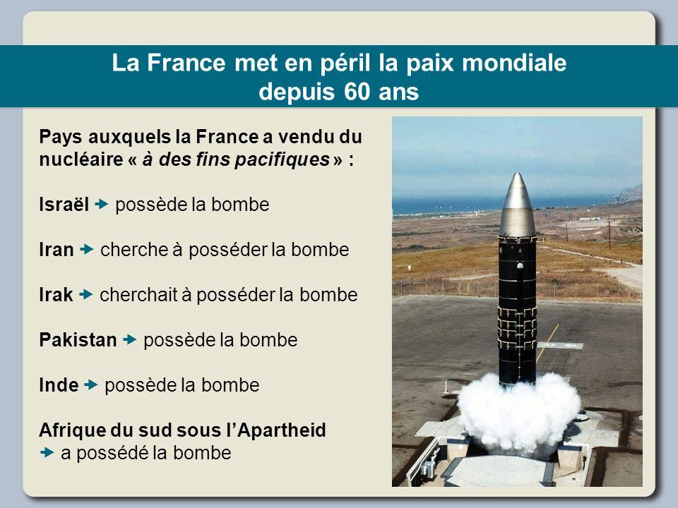 La France met en péril la paix mondiale depuis 60 ans