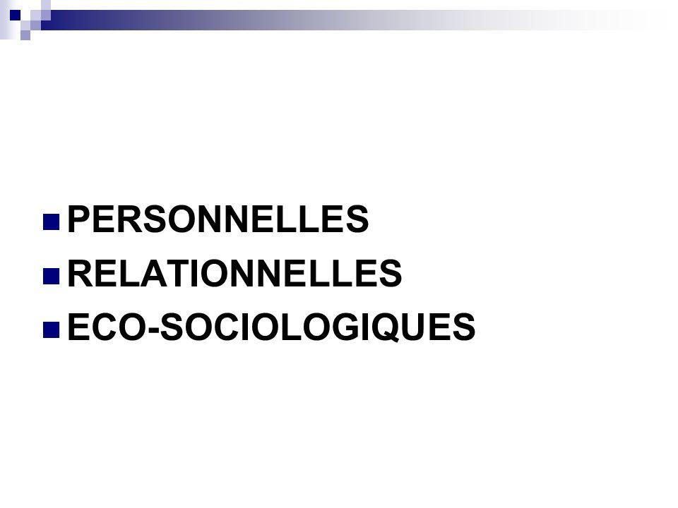 PERSONNELLES RELATIONNELLES ECO-SOCIOLOGIQUES