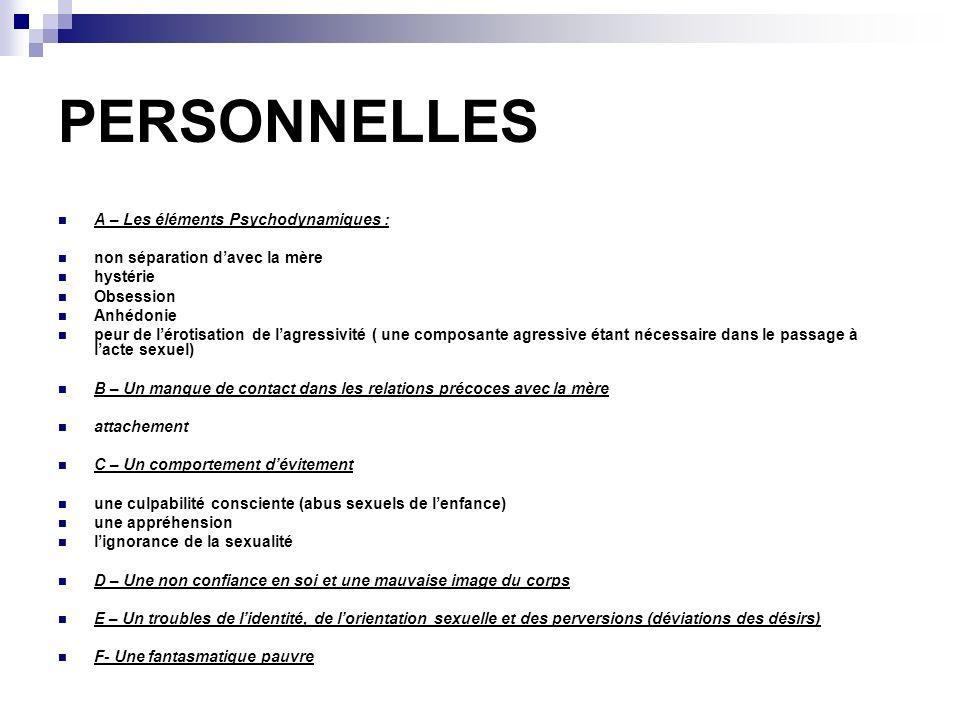 PERSONNELLES A – Les éléments Psychodynamiques :