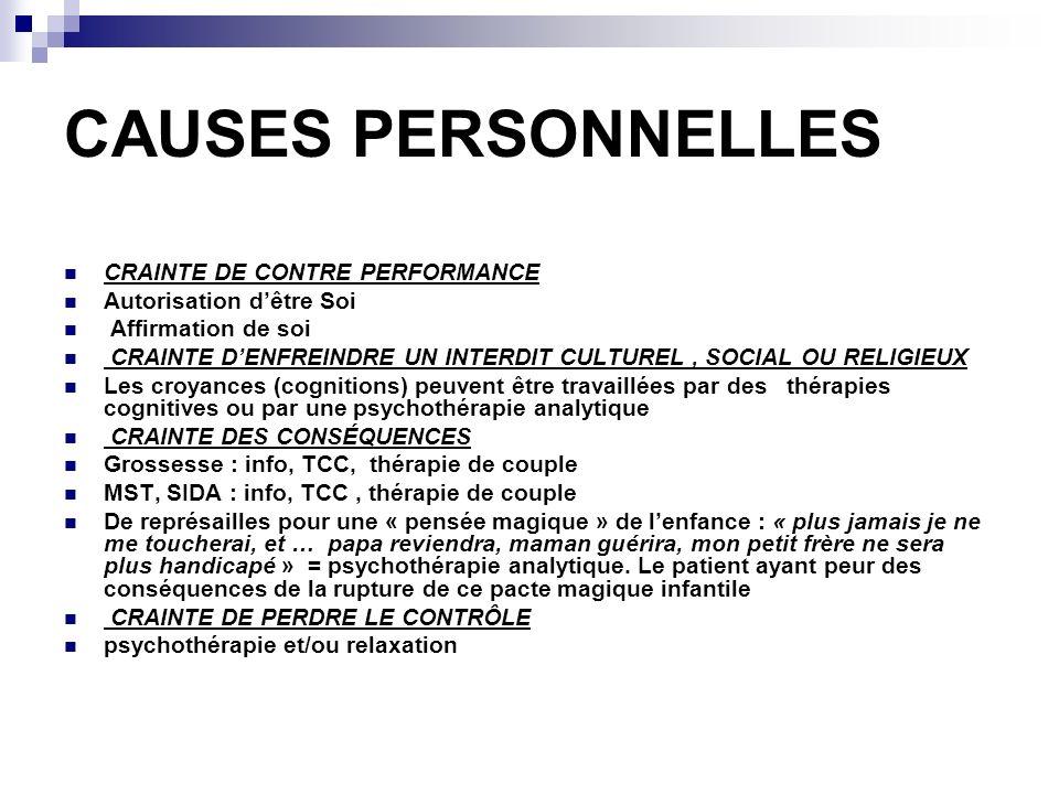 CAUSES PERSONNELLES CRAINTE DE CONTRE PERFORMANCE