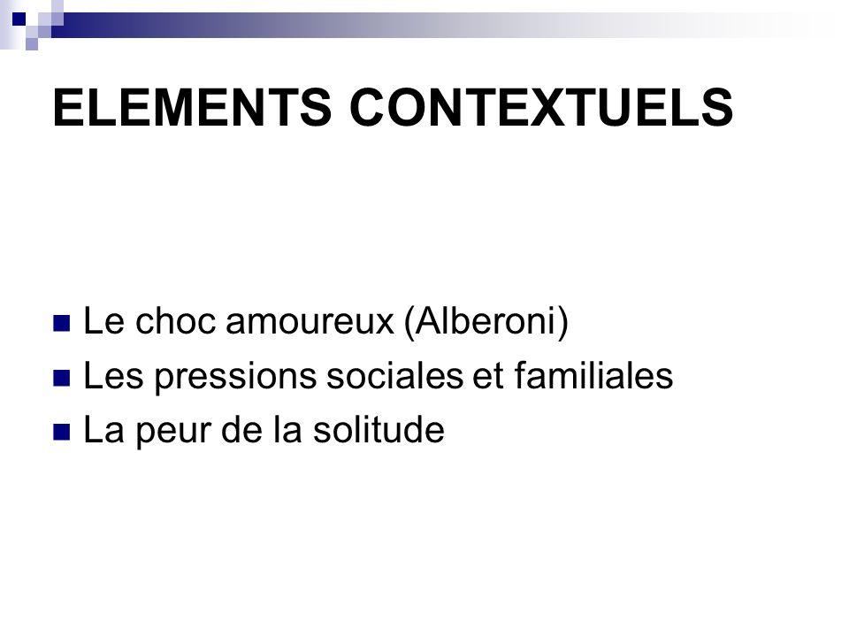 ELEMENTS CONTEXTUELS Le choc amoureux (Alberoni)