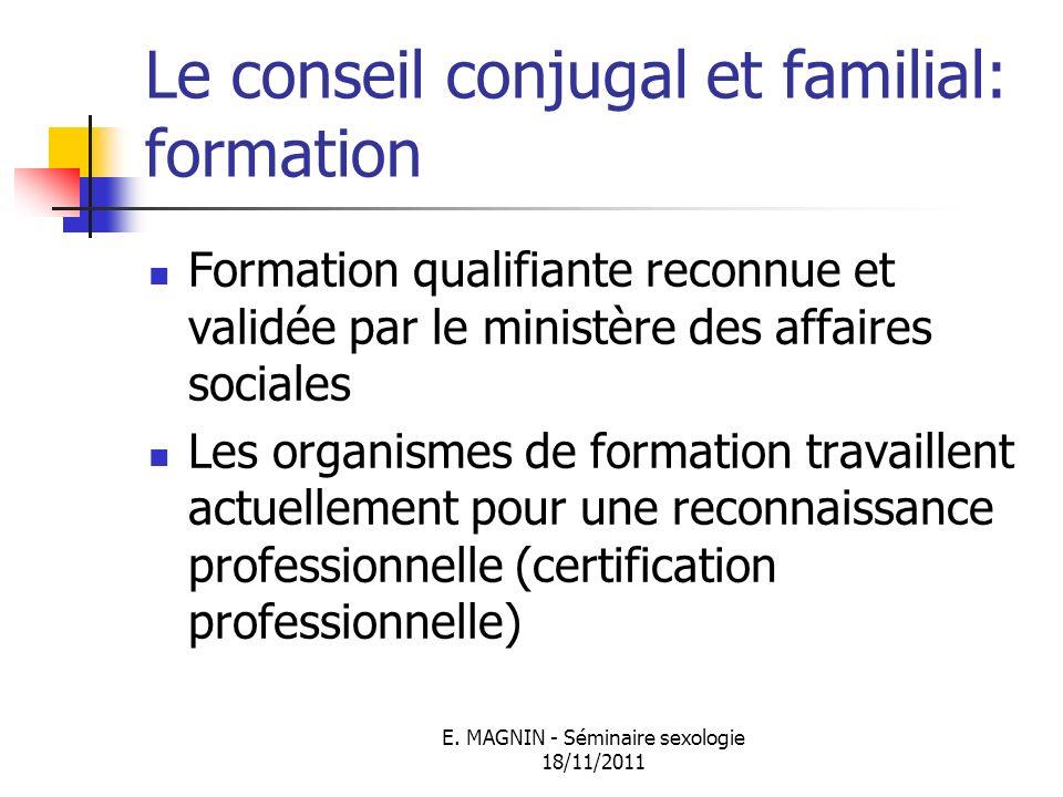 Le conseil conjugal et familial: formation