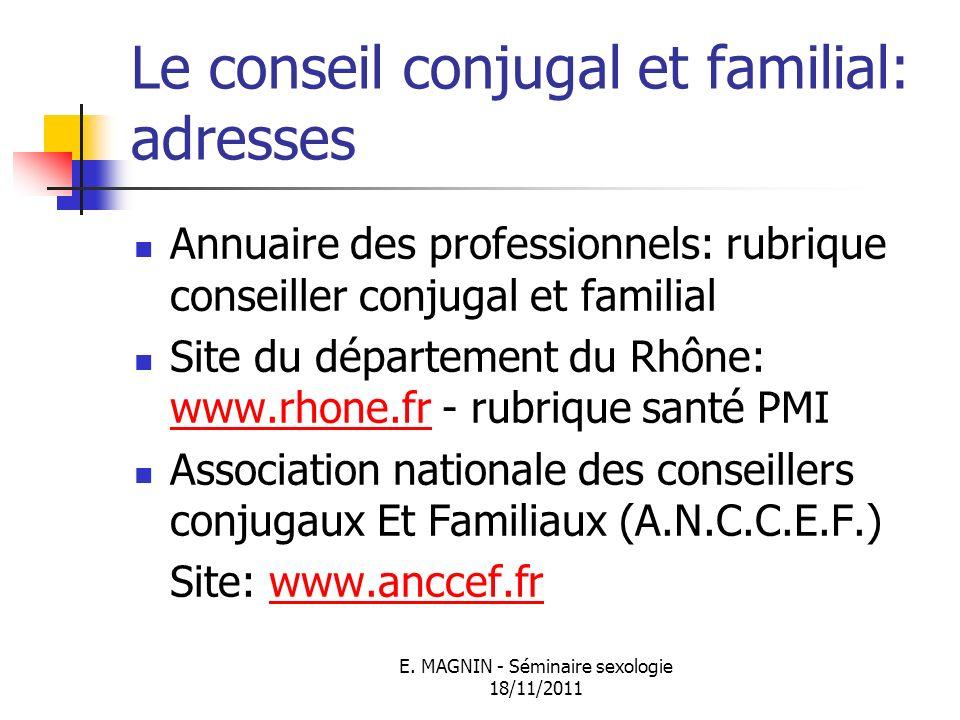 Le conseil conjugal et familial: adresses