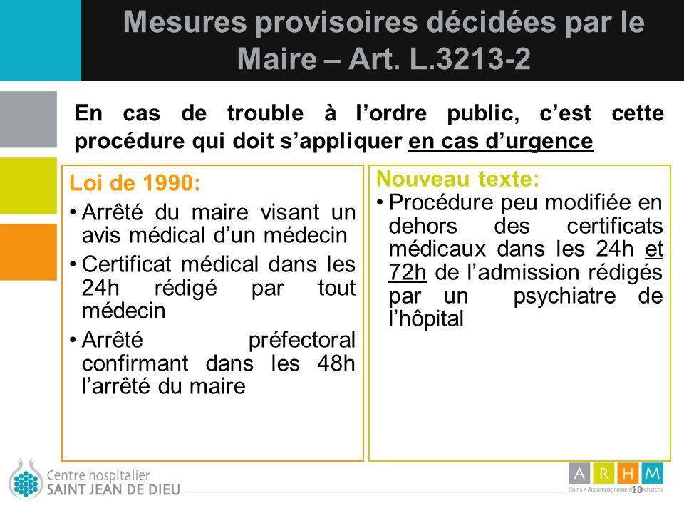 Mesures provisoires décidées par le Maire – Art. L.3213-2