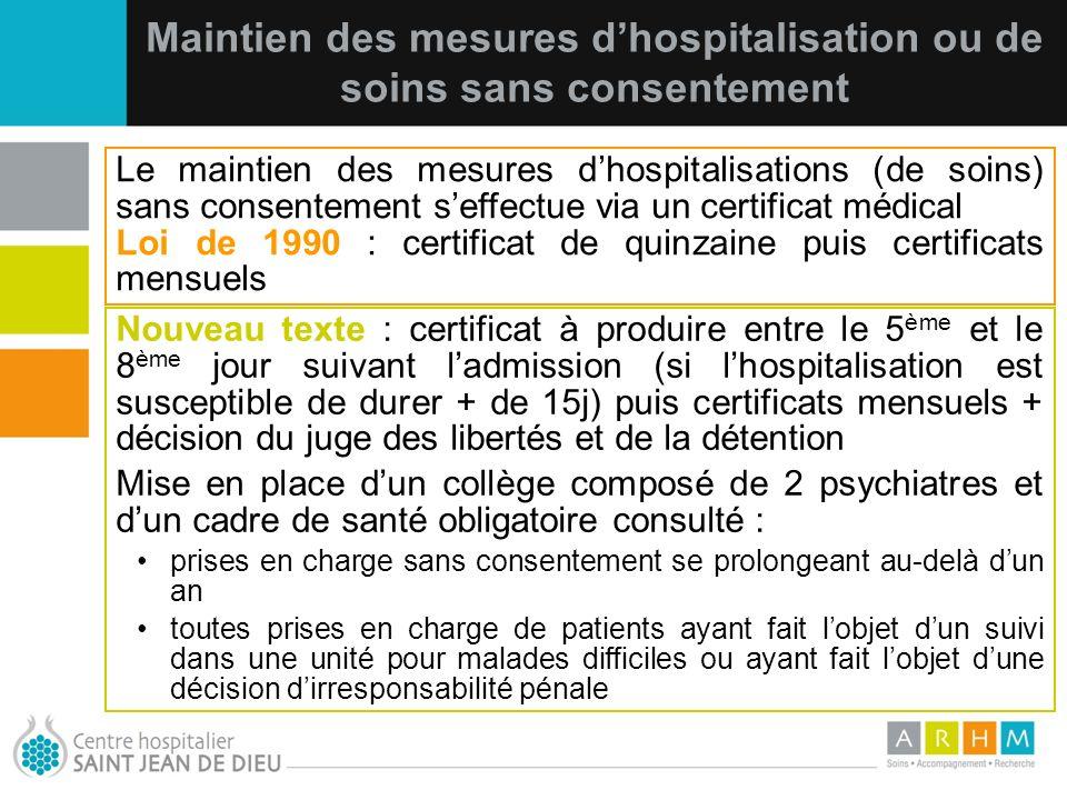 Maintien des mesures d'hospitalisation ou de soins sans consentement