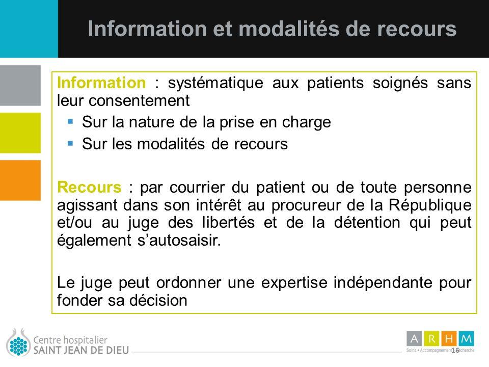 Information et modalités de recours