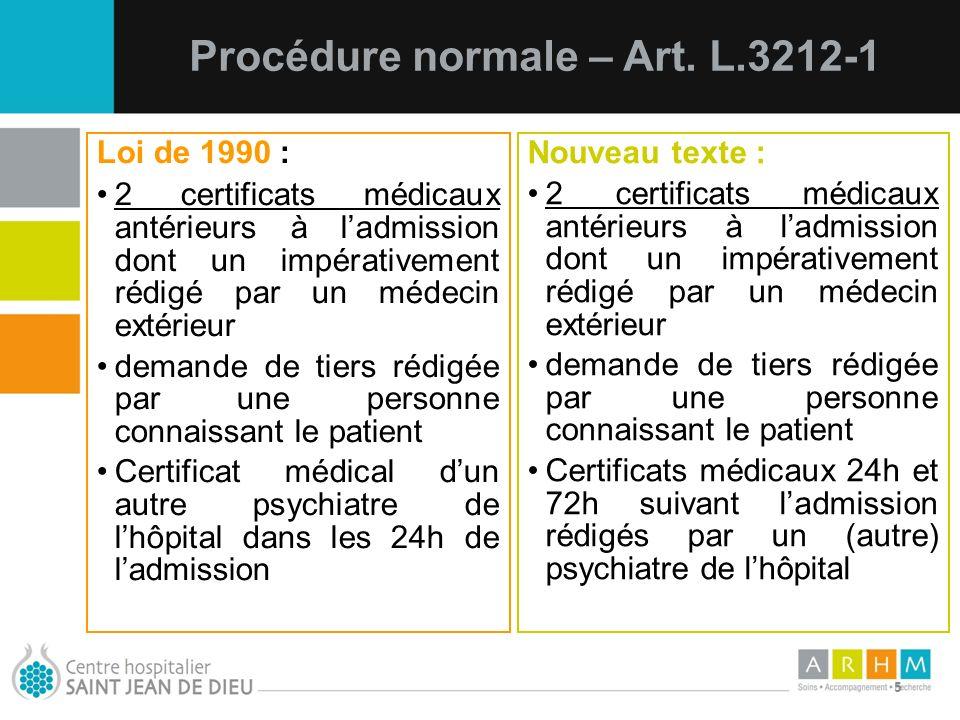 Procédure normale – Art. L.3212-1