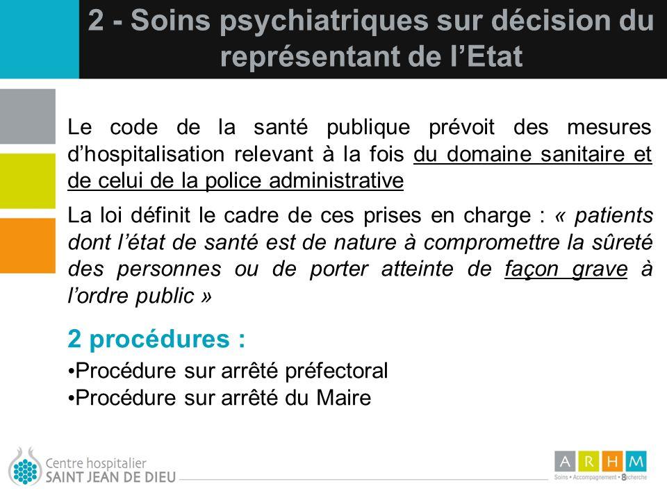2 - Soins psychiatriques sur décision du représentant de l'Etat