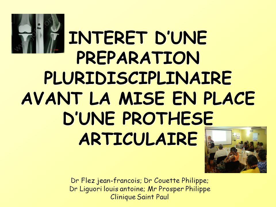 INTERET D'UNE PREPARATION PLURIDISCIPLINAIRE AVANT LA MISE EN PLACE D'UNE PROTHESE ARTICULAIRE