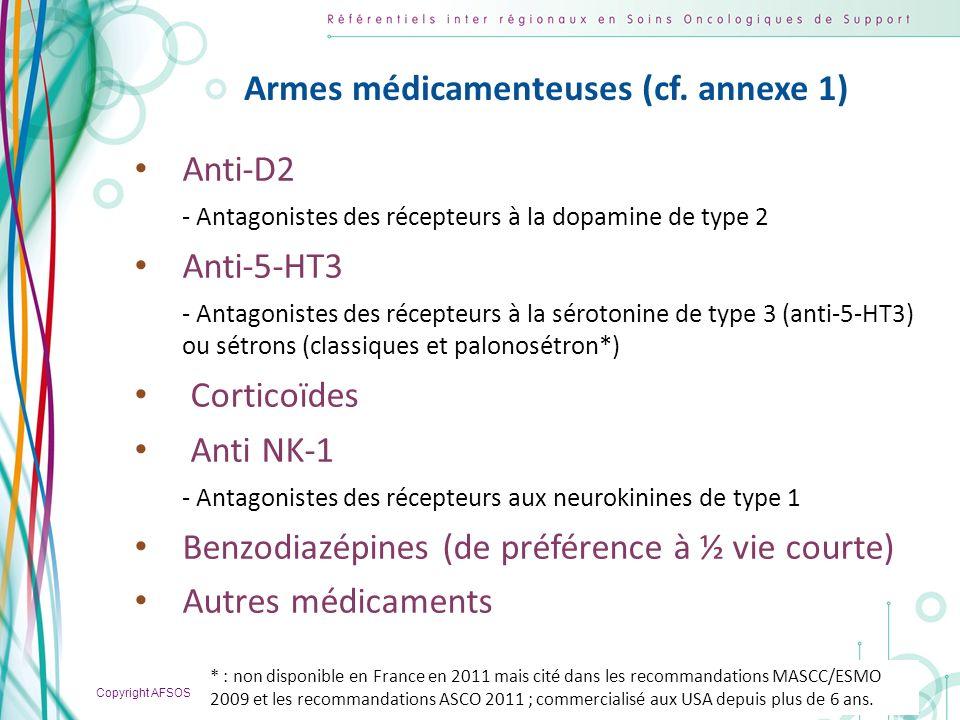 Armes médicamenteuses (cf. annexe 1)