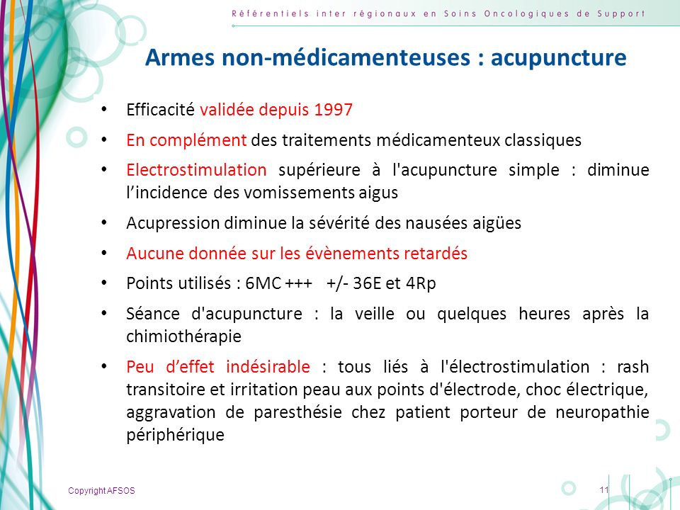 Armes non-médicamenteuses : acupuncture