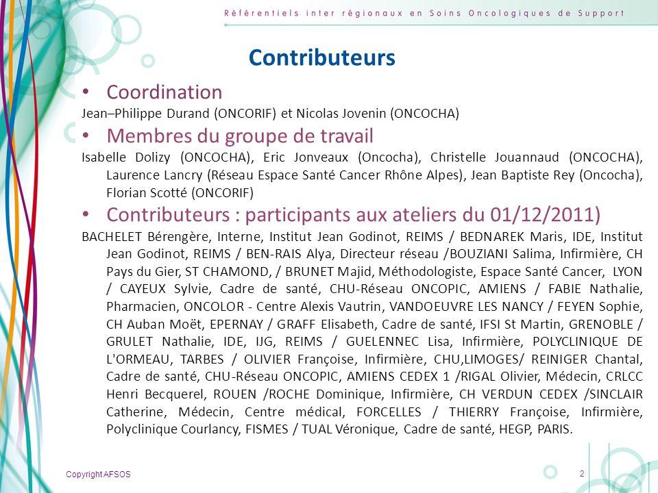 Contributeurs Coordination Membres du groupe de travail