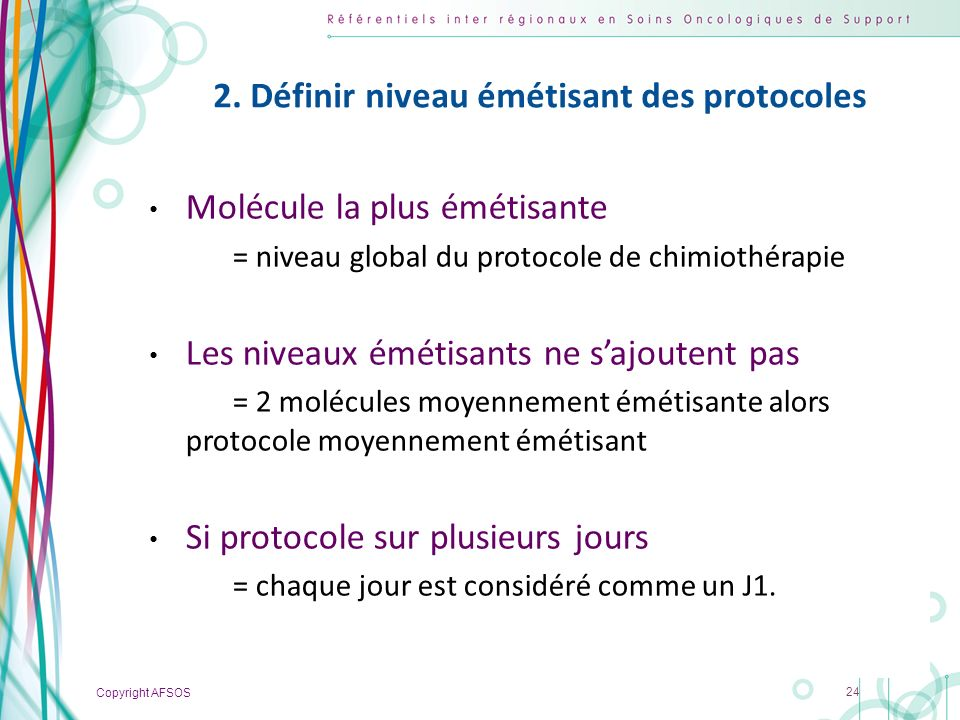 2. Définir niveau émétisant des protocoles