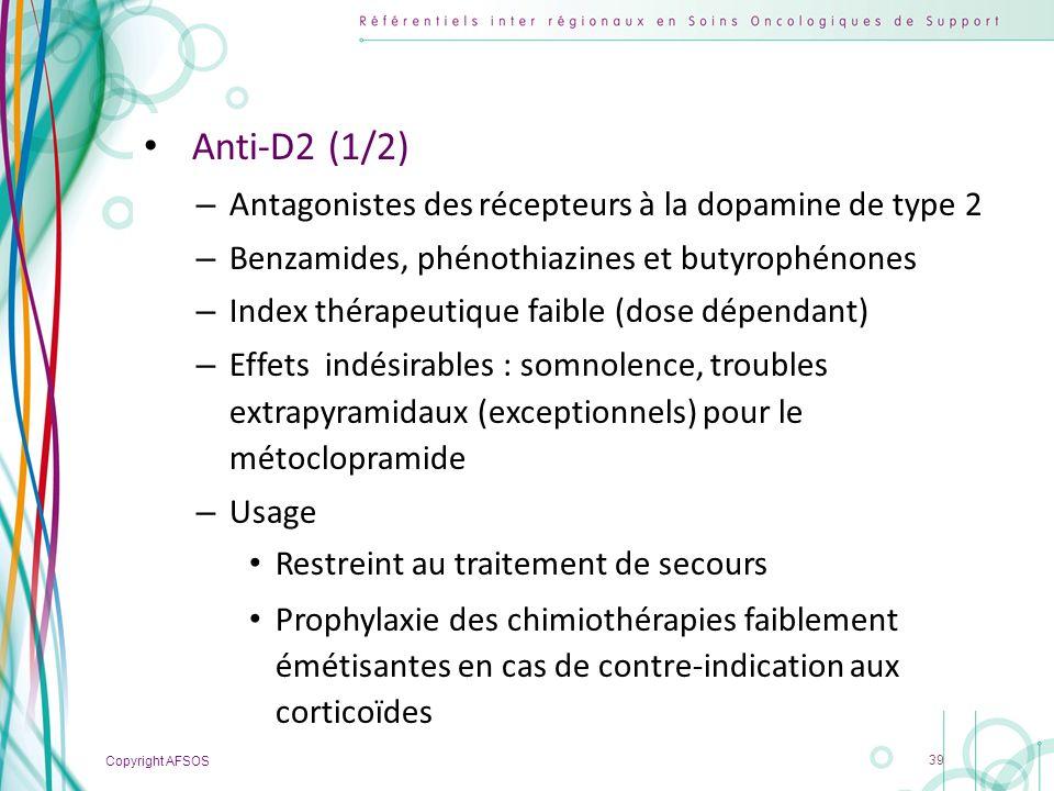 Anti-D2 (1/2) Antagonistes des récepteurs à la dopamine de type 2