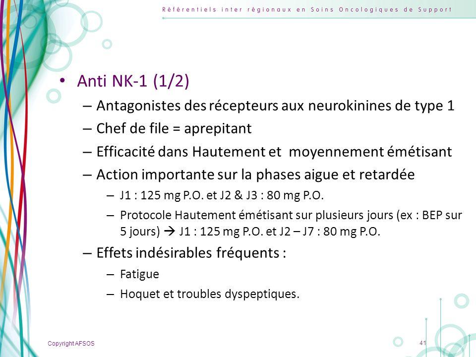 Anti NK-1 (1/2) Antagonistes des récepteurs aux neurokinines de type 1