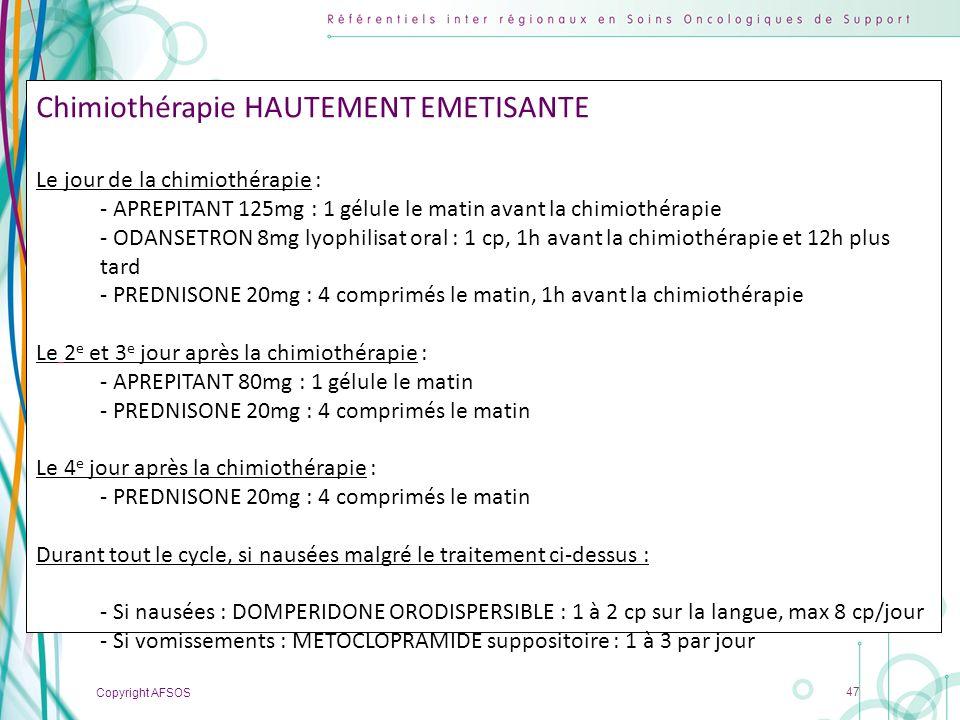 Chimiothérapie HAUTEMENT EMETISANTE