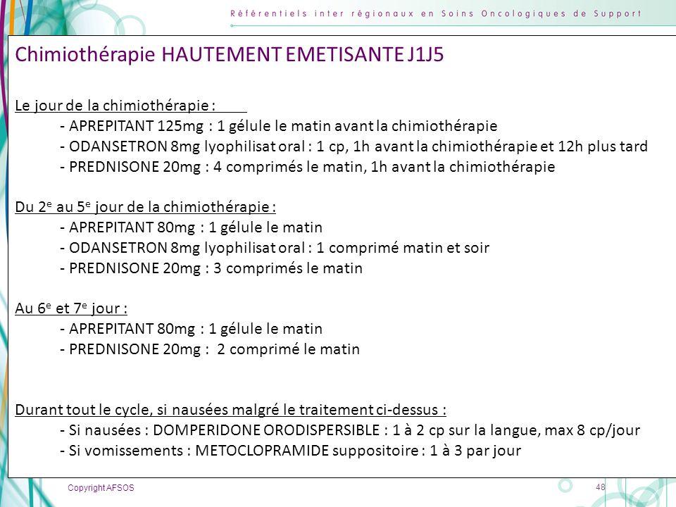 Chimiothérapie HAUTEMENT EMETISANTE J1J5