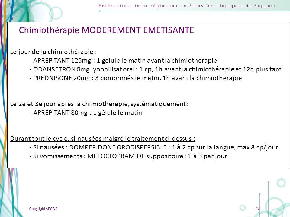 Chimiothérapie MODEREMENT EMETISANTE