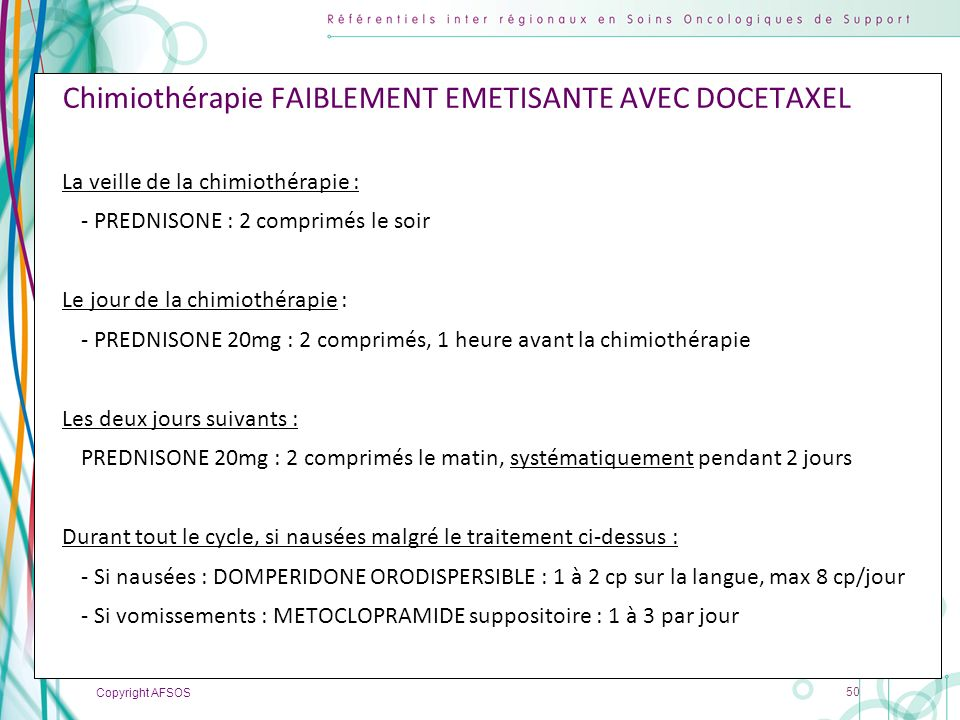Chimiothérapie FAIBLEMENT EMETISANTE AVEC DOCETAXEL