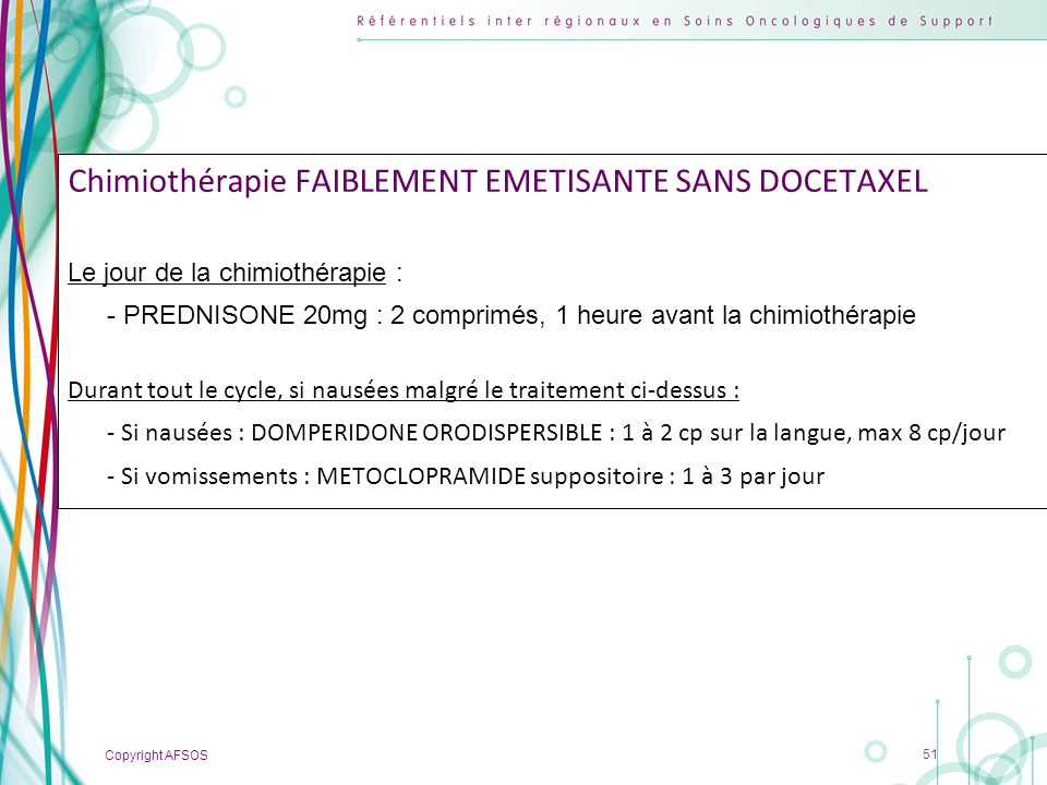 Chimiothérapie FAIBLEMENT EMETISANTE SANS DOCETAXEL