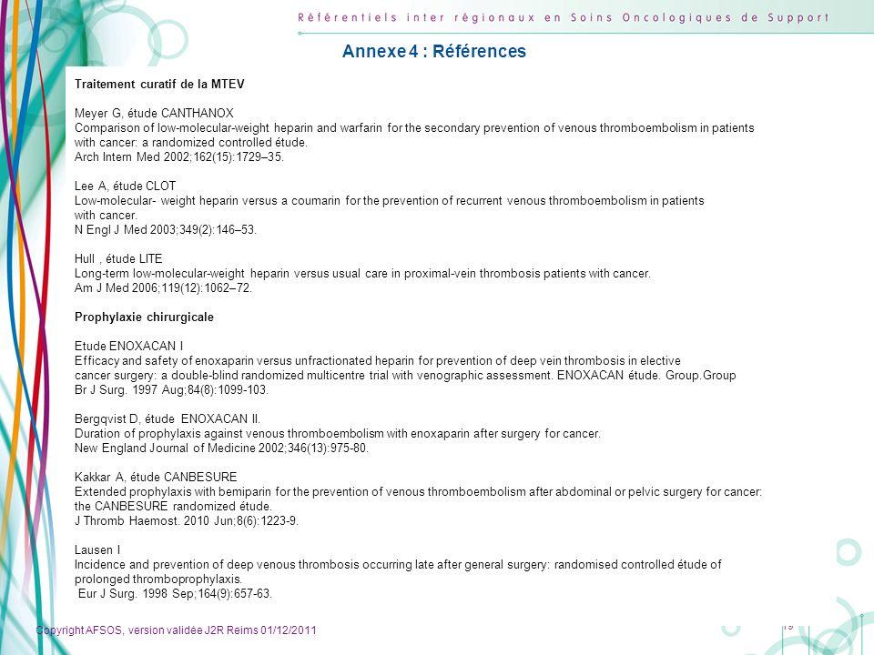 Annexe 4 : Références Traitement curatif de la MTEV
