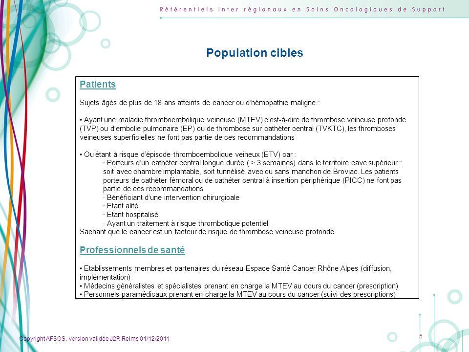 Population cibles Patients Professionnels de santé
