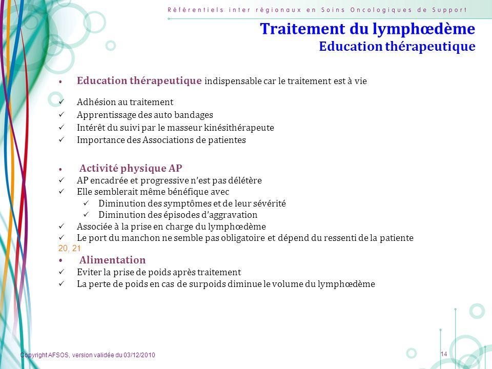 Traitement du lymphœdème Education thérapeutique