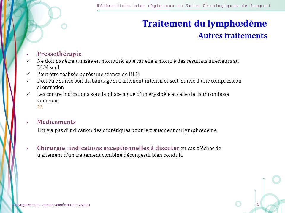 Traitement du lymphœdème Autres traitements