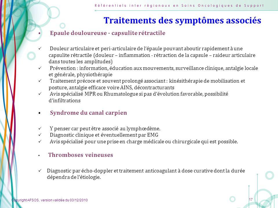 Traitements des symptômes associés