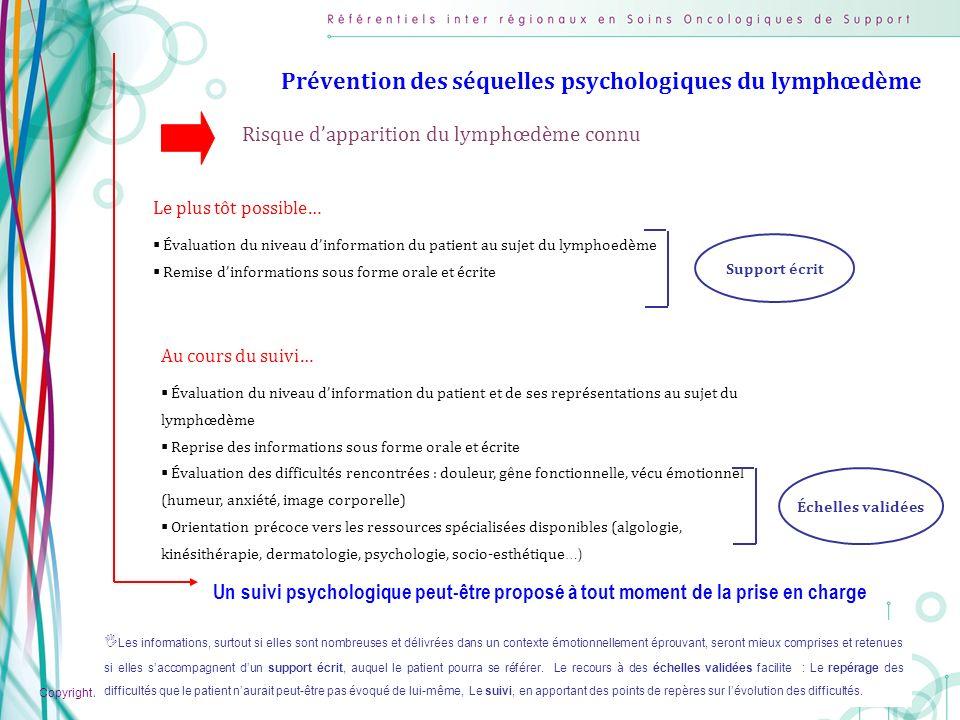 Prévention des séquelles psychologiques du lymphœdème
