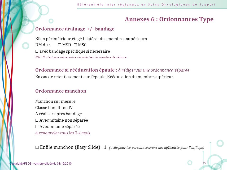 Annexes 6 : Ordonnances Type