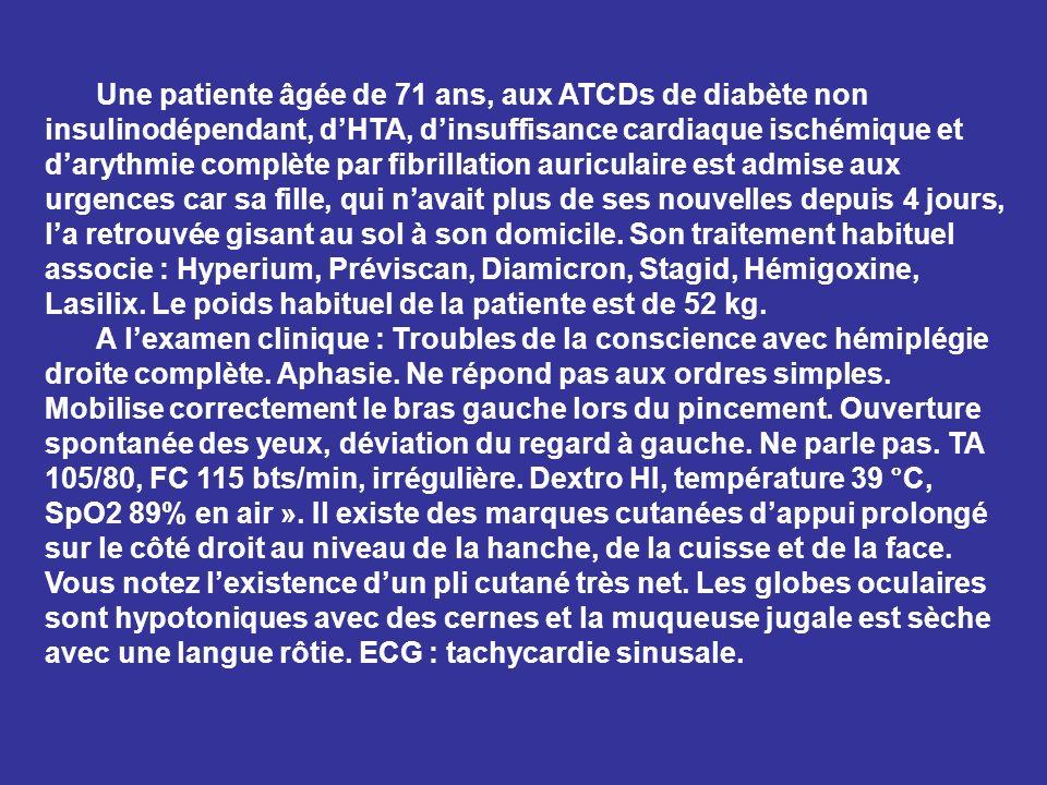 Une patiente âgée de 71 ans, aux ATCDs de diabète non insulinodépendant, d'HTA, d'insuffisance cardiaque ischémique et d'arythmie complète par fibrillation auriculaire est admise aux urgences car sa fille, qui n'avait plus de ses nouvelles depuis 4 jours, l'a retrouvée gisant au sol à son domicile. Son traitement habituel associe : Hyperium, Préviscan, Diamicron, Stagid, Hémigoxine, Lasilix. Le poids habituel de la patiente est de 52 kg.
